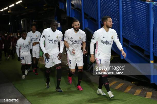 Eden Hazard of Real Madrid and teammates Karim Benzema, Ferland Mendy, Eder Militao and Vinicius Junior walk out onto the pitch for the second half...