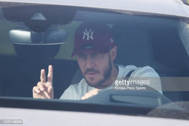Eden Hazard of Real Madrid arrives at Ciudad Deportiva Real Madrid where medical tests are being conducted as the team prepares to return to training...