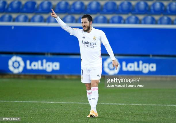 Eden Hazard of Real Madrid celebrates after scoring their team's third goal during the La Liga Santander match between Deportivo Alaves and Real...