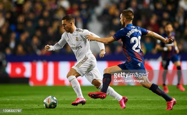 Eden Hazard of Real Madrid CF in action during the Liga match between Levante UD and Real Madrid CF at Ciutat de Valencia on February 22, 2020 in...