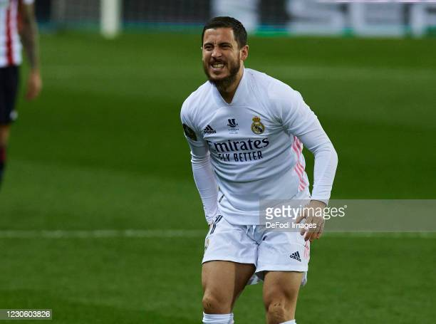 Eden Hazard of Real Madrid CF injured during the Spanish Super Cup - Semi final match between Real Madrid and Athletic Club on January 14, 2021 in...