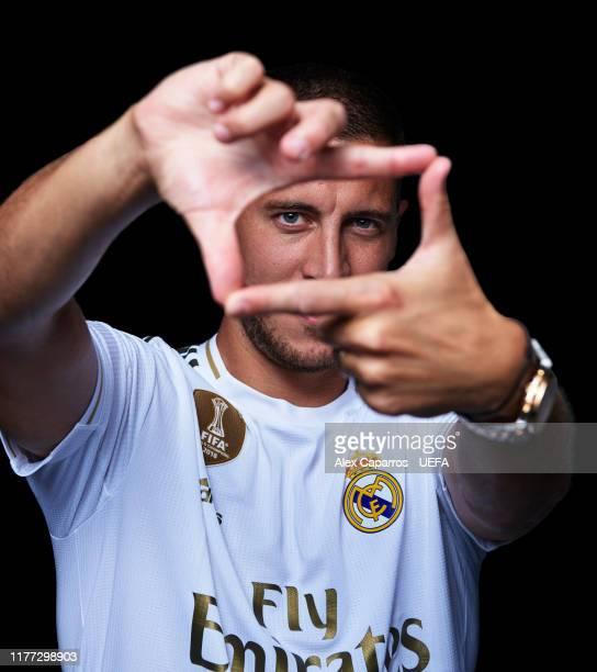 Eden Hazard of Real Madrid CF poses at Ciudad Real Madrid on August 19, 2019 in Madrid, Spain.