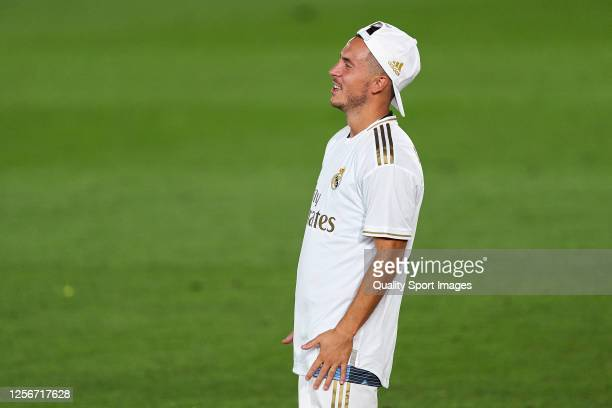 Eden Hazard of Real Madrid CF reacts after Real Madrid secure the La Liga title during the the La Liga match between Real Madrid CF and Villarreal CF...