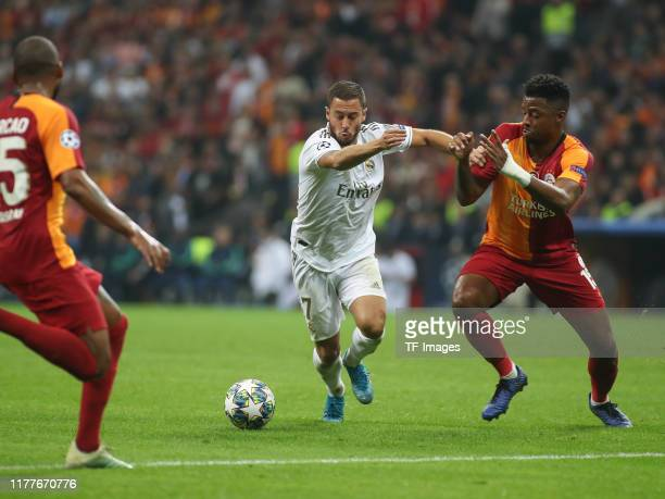 Eden Hazard of Real Madrid controls the ball during the UEFA Champions League group A match between Galatasaray and Real Madrid at Turk Telekom Arena...