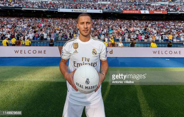 Eden Hazard of Real Madrid during his official presentation at Estadio Santiago Bernabeu on June 13 2019 in Madrid Spain