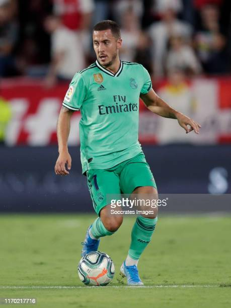 Eden Hazard of Real Madrid during the La Liga Santander match between Sevilla v Real Madrid at the Estadio Ramon Sanchez Pizjuan on September 22 2019...
