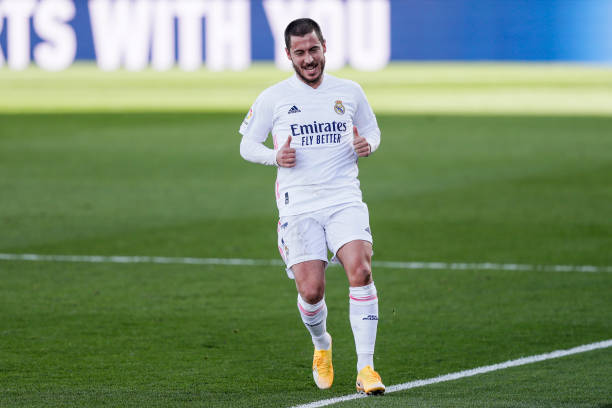 Eden Hazard of Real Madrid during the La Liga Santander match between Real Madrid v Levante at the Santiago Bernabeu on January 30, 2021 in Madrid...