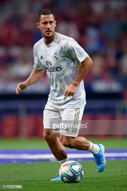 Eden Hazard of Real Madrid during the warm-up before the Liga match between Club Atletico de Madrid and Real Madrid CF at Wanda Metropolitano on...