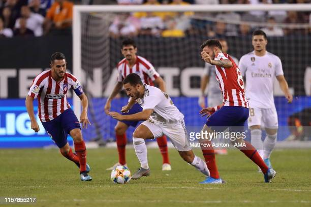 Eden Hazard of Real Madrid gets closed down during the 2019 International Champions Cup match between Real Madrid and Atletico de Madrid at MetLife...
