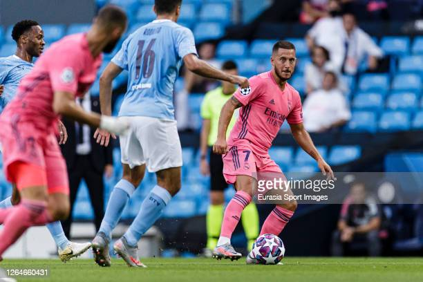 Eden Hazard of Real Madrid in action during the UEFA Champions League round of 16 second leg match between Manchester City and Real Madrid at Etihad...