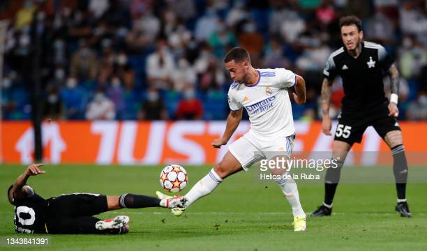 Eden Hazard of Real Madrid in action during the UEFA Champions League group D match between Real Madrid and FC Sheriff at Estadio Santiago Bernabeu...