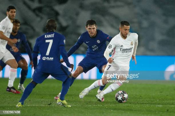 Eden Hazard of Real Madrid in action during UEFA Champions League semi-final first leg match between Real Madrid and Chelsea FC at Alfredo Di Stefano...