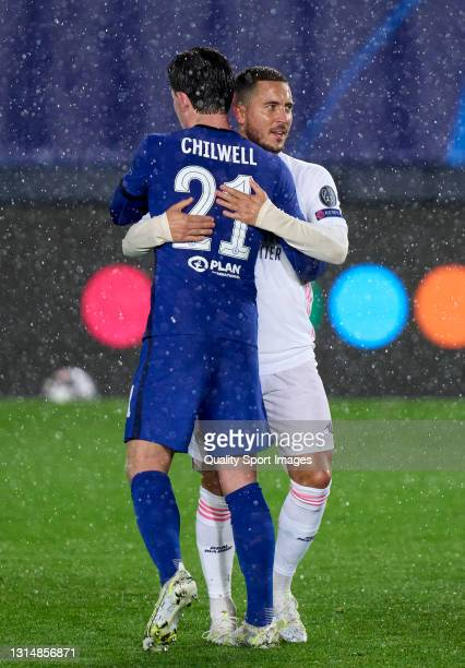 Eden Hazard of Real Madrid interacts with Ben Chilwell of Chelsea after the UEFA Champions League Semi Final First Leg match between Real Madrid and...
