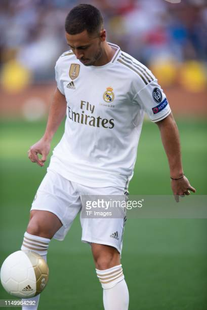 Eden Hazard of Real Madrid is seen in Real Madrid jersey prior to the press conference of Real Madrid at Estadio Santiago Bernabeu on June 13, 2019...