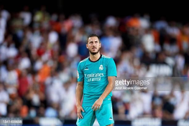 Eden Hazard of Real Madrid looks on during the La Liga Santander match between Valencia CF and Real Madrid CF at Estadio Mestalla on September 19,...