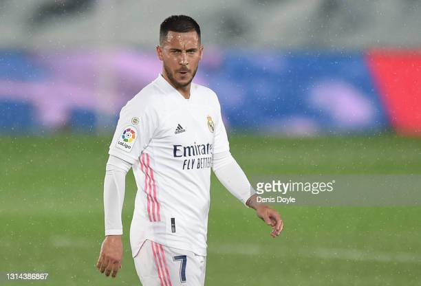 Eden Hazard of Real Madrid reacts at the end of the La Liga Santander match between Real Madrid and Real Betis at Estadio Santiago Bernabeu on April...