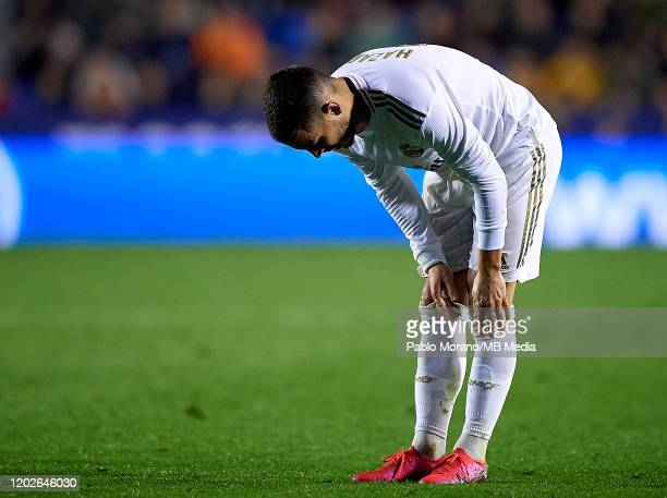 Eden Hazard of Real Madrid reacts during the Liga match between Levante UD and Real Madrid CF at Ciutat de Valencia on February 22, 2020 in Valencia,...