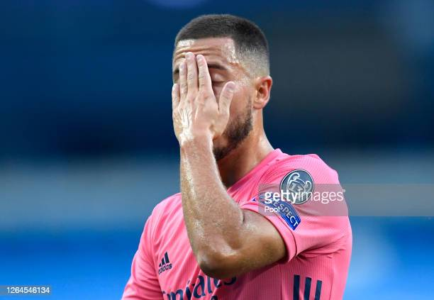 Eden Hazard of Real Madrid reacts during the UEFA Champions League round of 16 second leg match between Manchester City and Real Madrid at Etihad...