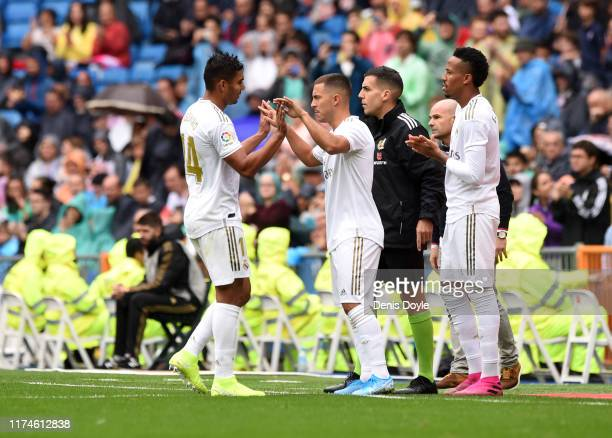 Eden Hazard of Real Madrid replaces Casemiro of Real Madrid during the La Liga match between Real Madrid CF and Levante UD at Estadio Santiago...