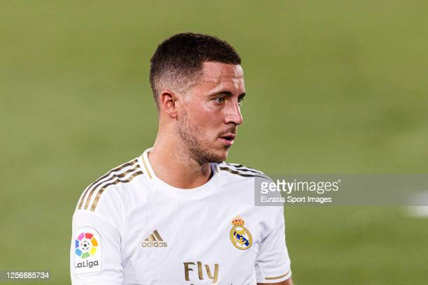Eden Hazard of Real Madrid walks in the field during the Liga match between Real Madrid CF and Villarreal CF at Estadio Alfredo Di Stefano on July 16...