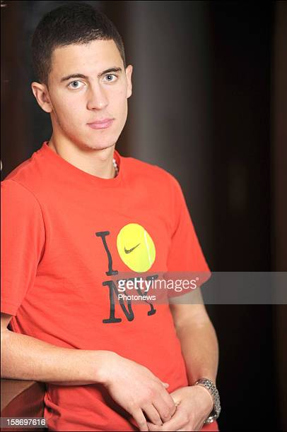 Eden Hazard poses at home on August 19 2008 in BraineleCompte