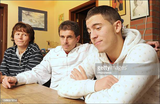 Eden Hazard poses at home with his mother Carine and father Thierry on August 19 2008 in BraineleCompte