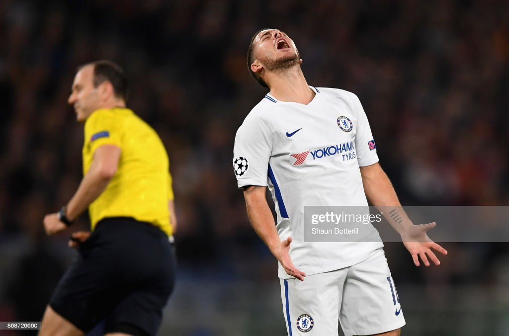 Eden Hazard reacts during the UEFA Champions League group C match between AS Roma and Chelsea FC at Stadio Olimpico on October 31, 2017 in Rome, Italy.