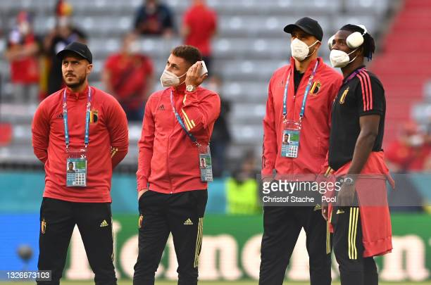 Eden Hazard, Thorgan Hazard, Nacer Chadli, and Michy Batshuayi of Belgium look on during a pitch inspection prior to the UEFA Euro 2020 Championship...