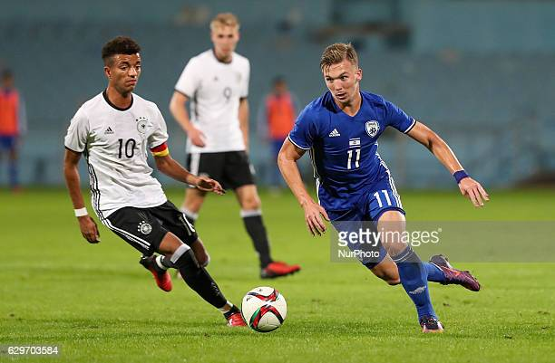 Eden Karzev of Israel challenges Timothy Tillman of Germany in action during the Under 18 International Friendly match between Israel and Germany on...