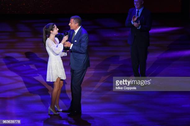 Eden Plepler and gala honoree Richard Plepler appear onstage during Lincoln Center's American Songbook Gala at Alice Tully Hall on May 29 2018 in New...