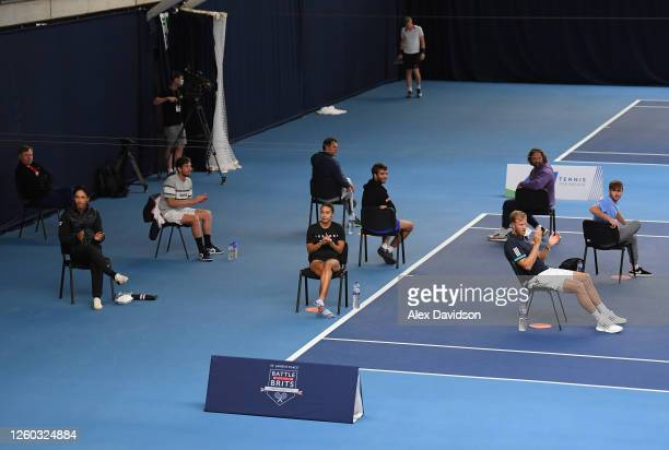 Eden Silva and British Bulldogs watch on during Day One of the St. James's Place Battle Of The Brits Team Tennis at National Tennis Centre on July...