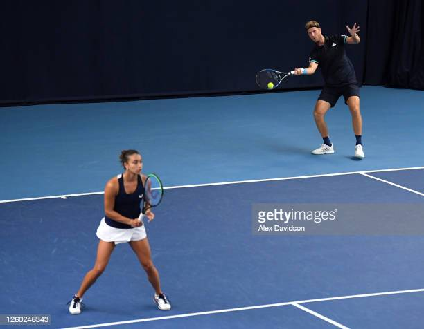 Eden Silva and Dom Inglot of Union Jacks in their match against Lloyd Glasspool and Naomi Broady of British Bulldogs during Day One of the St....