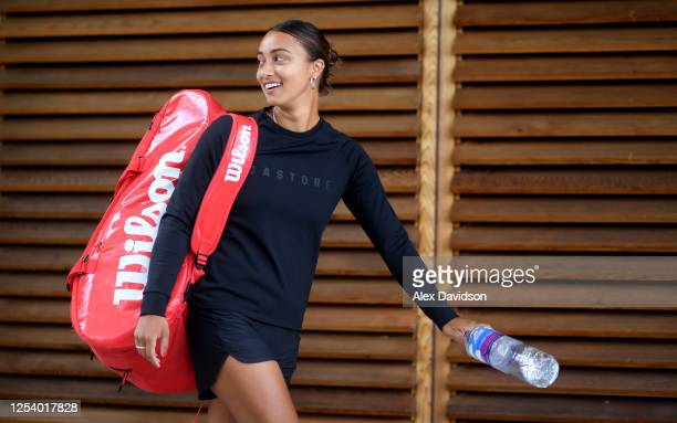 Eden Silva arrives prior to Day Two of the British Tour at the National Tennis Centre on July 03, 2020 in London, England.