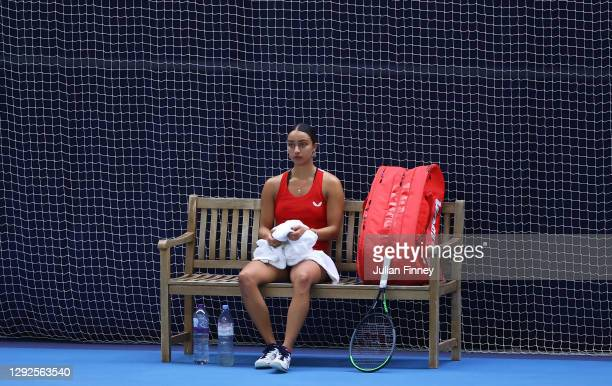 Eden Silva looks on during their round robin match against Naomi Broady during Day Three of the Battle of the Brits Premier League of Tennis at the...