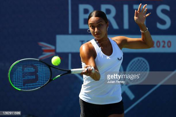 Eden Silva of British Bulldogs returns a forehand to Naomi Broady of Union Jacks during day five of the St. James's Place Battle of The Brits Team...