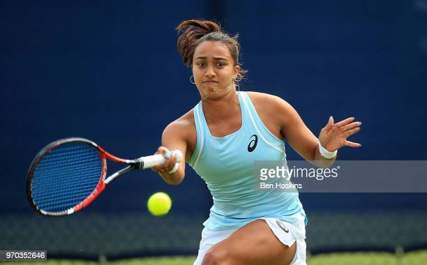 Eden SIlva of Great Britain hits a forehand during her qualifying match against Elena-Gabriela Ruse of Romania on Day One of the Nature Valley Open...