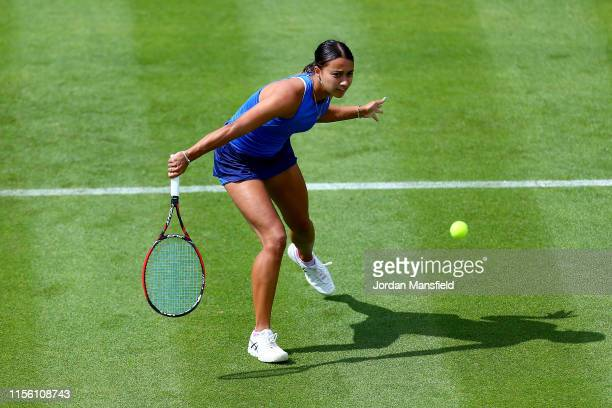 Eden Silva of Great Britain plays a backhand during her qualifying match against Bernarda Pera of the USA during day one of qualifying for the Nature...