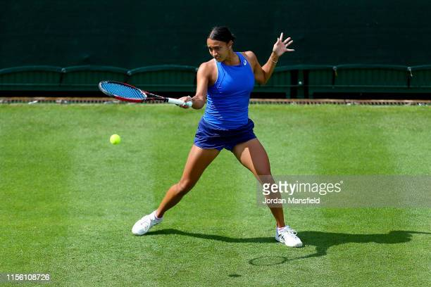 Eden Silva of Great Britain plays a forehand during her qualifying match against Bernarda Pera of the USA during day one of qualifying for the Nature...
