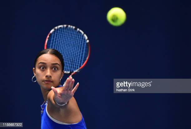Eden Silva of Great Britain plays a shot against Cornelia Lister of Sweden and Santamaria of United States in the women's doubles during day four of...
