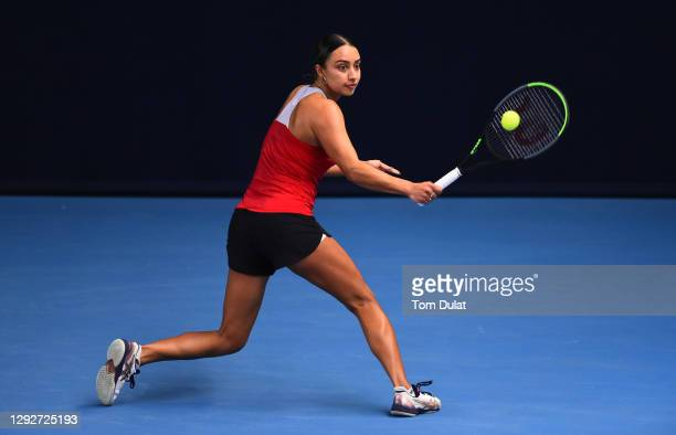 Eden Silva plays a backhand shot during their round robin match against Katy Dunne during Day Four of the Battle of the Brits Premier League of...