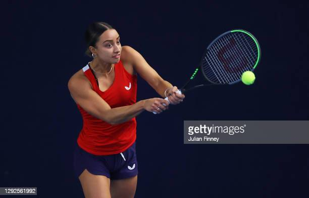 Eden Silva plays a backhand shot during their round robin match against Naomi Broady during Day Three of the Battle of the Brits Premier League of...