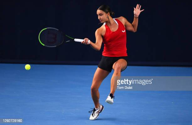 Eden Silva plays a forehand shot during their round robin match against Katy Dunne during Day Four of the Battle of the Brits Premier League of...