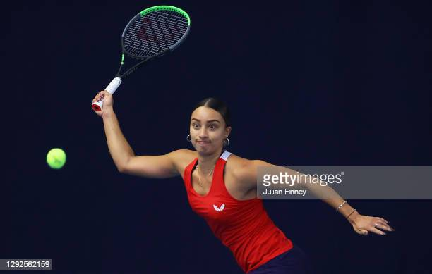 Eden Silva plays a forehand shot during their round robin match against Naomi Broady during Day Three of the Battle of the Brits Premier League of...