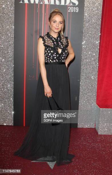 Eden Taylor Draper arrives on the red carpet during The British Soap Awards 2019 at The Lowry, Media City, Salford in Manchester.