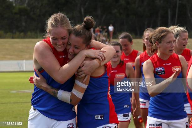Eden Zanker and Bianca Jakobsson of the Demons celebrates victory after the round five AFLW match between the Greater Western Sydney Giants and the...