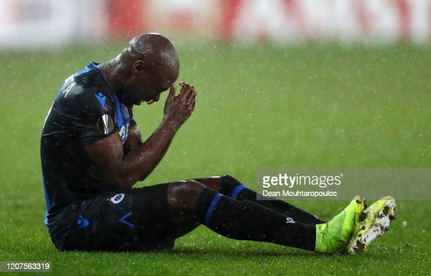 Eder Alvarez Balanta of Club Brugge goes down injured during the UEFA Europa League round of 32 first leg match between Club Brugge and Manchester...