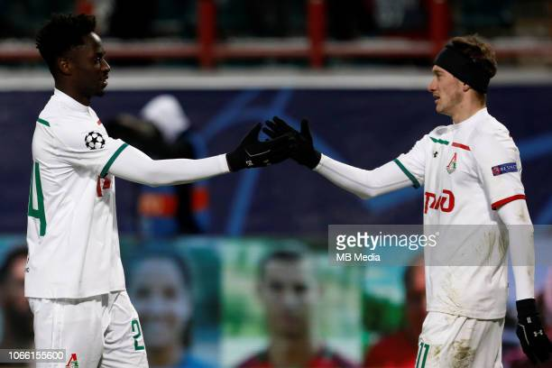 Eder and Anton Miranchuk of FC Lokomotiv Moscow celebrate victory during the Group D match of the UEFA Champions League between FC Lokomotiv Moscow...