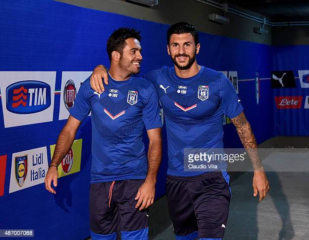 Eder and Roberto Soriano of Italy attend training session at Renzo Barbera Stadium on September 5 2015 in Palermo Italy