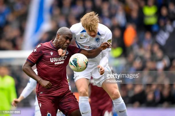 Eder Balanta defender of Club Brugge battles for the ball with Mats Moller Daehli forward of Genk during the Jupiler Pro League match between KRC...