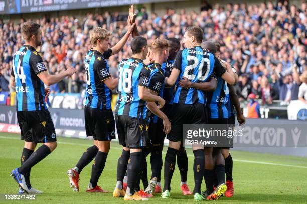 Eder Balanta of Club Brugge celebrates after scoring his sides first goal with Ruud Vormer of Club Brugge, Federico Ricca of Club Brugge, Hans...